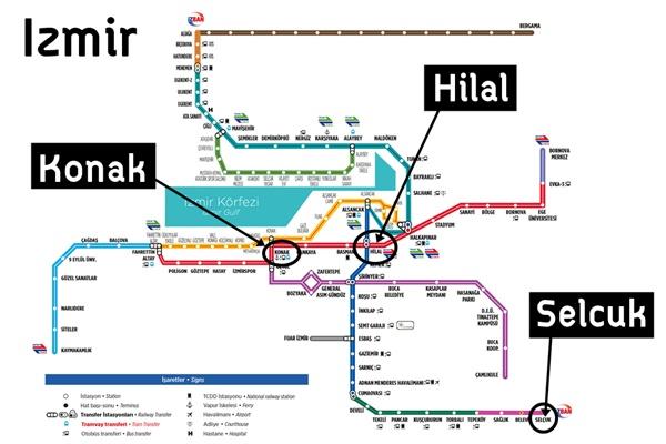 แผนที่รถไฟ Izmir