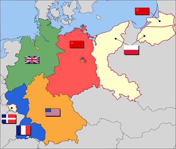แผนที่การแบ่งเยอรมนีหลังสงครามโลกครั้งที่2