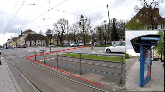 ป้ายรถรางหน้า Nymphenburg