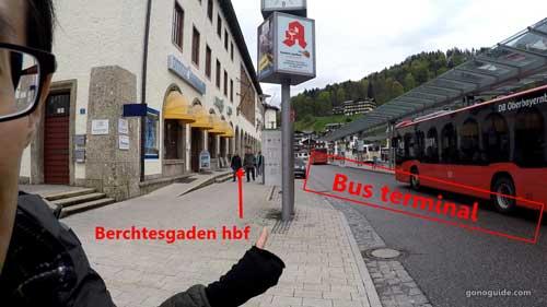 จุดขึ้ันบัสที่ Berchtesgaden hbf
