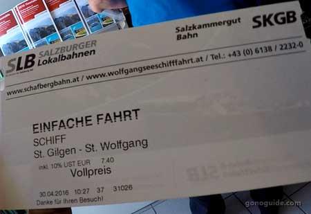 ตั๋วล่องเรือ St.Wolfgang