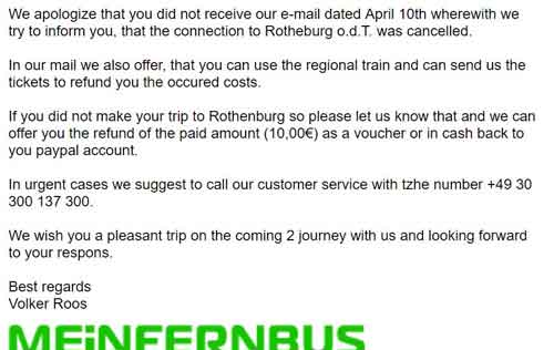 จดหมายจาก flixbus