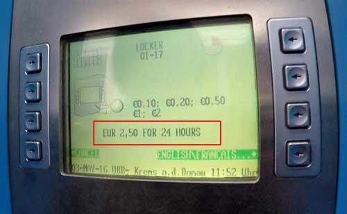 ราคา Locker ที่ Krems