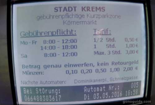 ราคาที่จอดรถ Krems